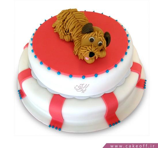 کیک تولد بچه گانه سگ قهوه ای