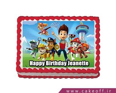 کیک تصویری - کیک کارتونی سگ های نگهبان شاد | کیک آف