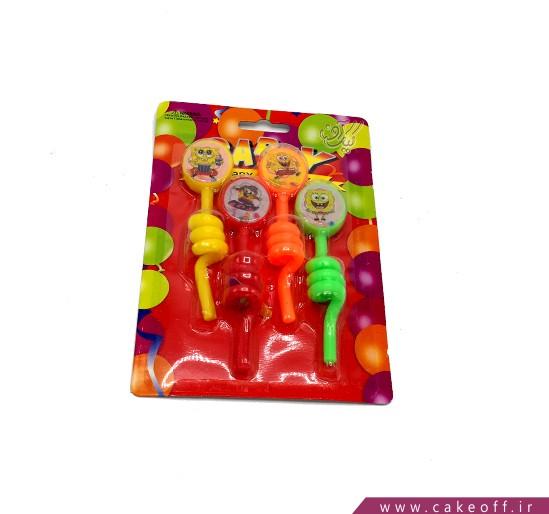 خرید اینترنتی شمع - شمع باب اسفنجی طرح فنری 4 عددی | کیکآف