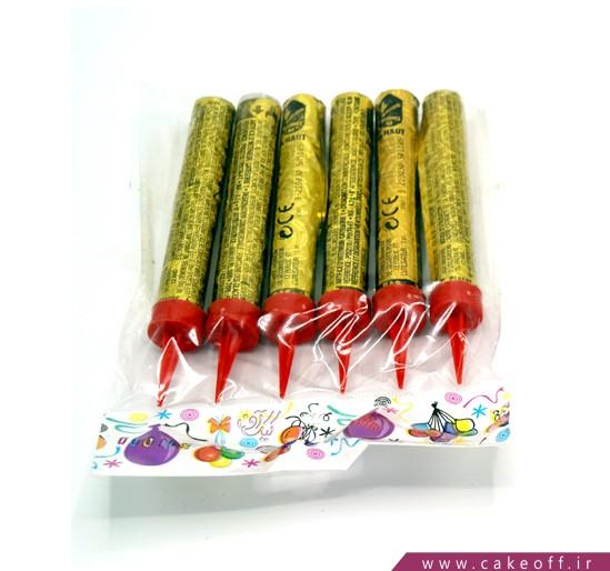 خرید فشفشه - فشفشه رو کیک طلایی بسته 6 عددی   کیکآف