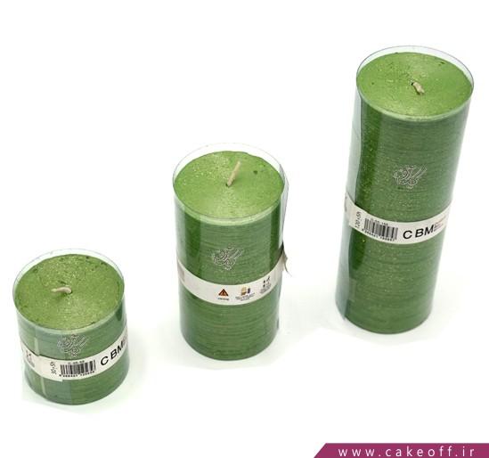 خرید اینترنتی شمع های تزئینی - شمع اکلیلی استوانه 3 عددی سبز | کیک آف