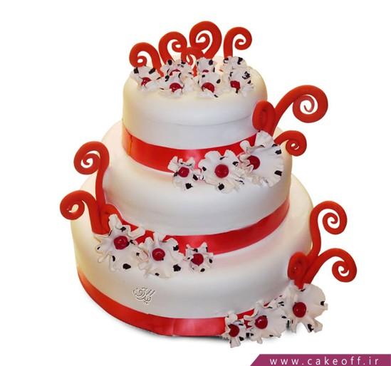 کیک فوندانت موج و گل