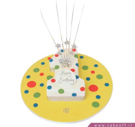انواع کیک تولد - کیک تولد یکسالگی رنگدونه | کیک آف