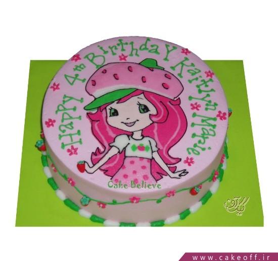 کیک تولد دخترانه دختر توت فرنگی زیبا