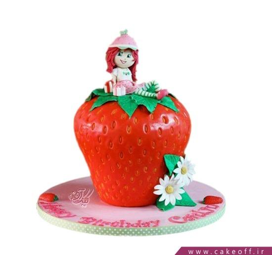 کیک تولد دخترانه دختر توت فرنگی دلربا