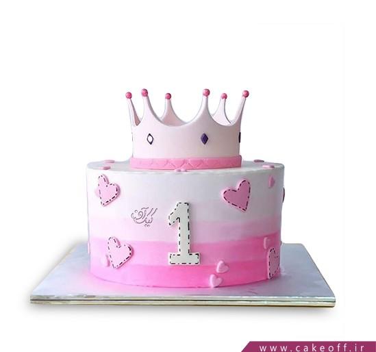 کیک تولد یکسالگی دخترانه خانم تاج | کیک آف