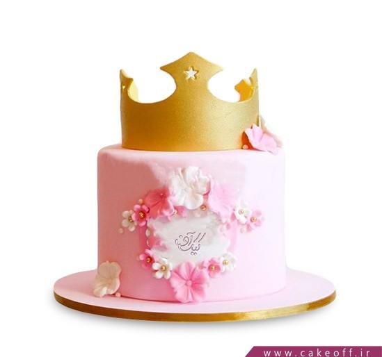 عکس کیک تولد دخترانه شیک - کیک تاج عشق | کیک آف