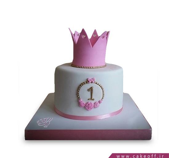 کیک تولد یکسالگی دخترانه  - کیک تاج دخت | کیک آف