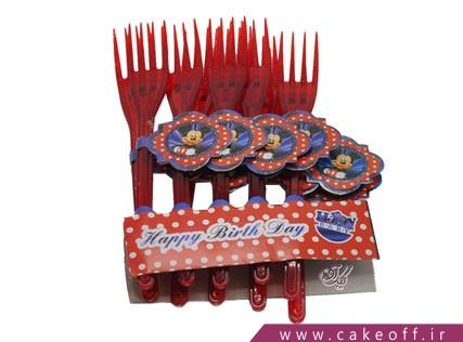 ظروف پذیرایی تولد - چنگال تم میکی موس | کیک آف