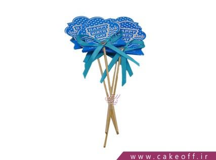 تاپر تولد - تم پسرانه آبی خالدار | 4 عدد