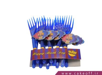 وسایل پذیرایی تولد - چنگال تم بارسلونا 10 عدد | کیک آف