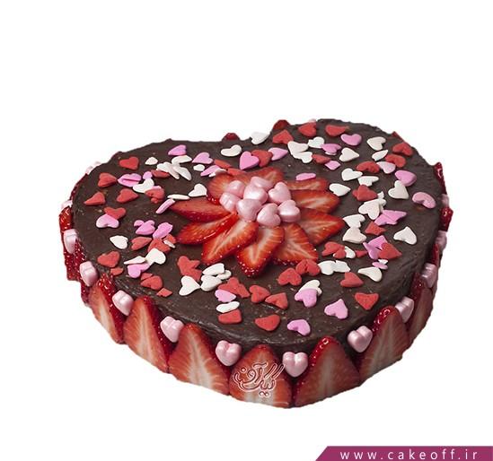کیک قلب توت فرنگی های عاشق