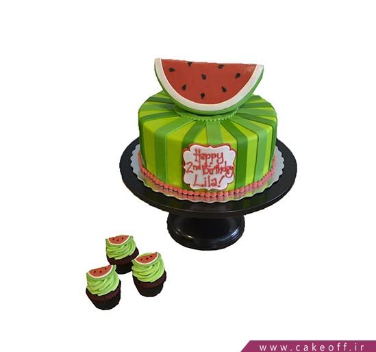 کیک شب یلدا - کیک هندونه ی بالا نشین   کیک آف